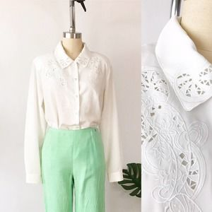 White Cutout Blouse 80s Collared Shirt Cottagecore